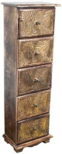 Art Deco Home - Hochkommode mit 5 Schubladen BL ER, Holz, 80cm   - 14120SG