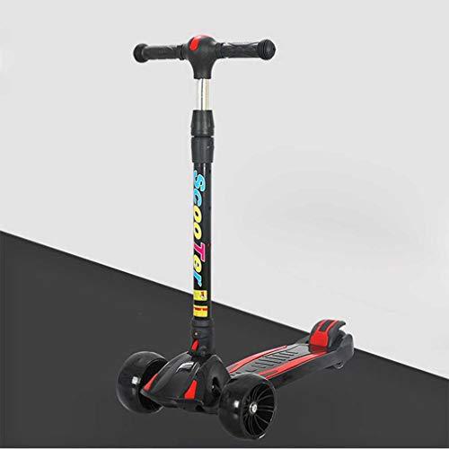 WANGLXST Moda Scooter Speeder Plegable de 3 Ruedas, Plegable de Altura Ajustable, Scooter de inclinación para Conducir con Rueda de PU Intermitente Juguete