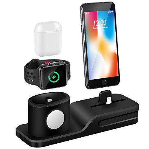 Base de Carga Compatible con Apple Watch, Soporte de Carga 3 en 1 Silicona Compatible con iWatch Series 5/4/3/2/1, Airpods, iPhone 11/Xs/Xs Max/Xr/X/8/8 Plus/7/7 Plus/6 (No incluye Cable/ Adaptador)