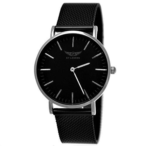 NY London Damen-Uhr Designer Milanaise Armband-Uhr Analog Klassisch Quarz-Uhr Schwarz Anthrazit