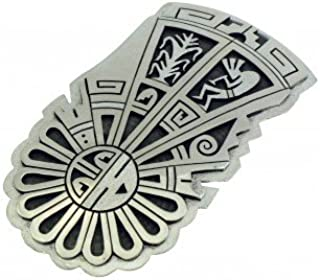 Berra Tawahongya, Hopi Silver Overlay Buckle, Sunface, Kokopelli, Corn, 1