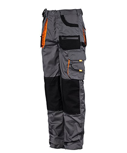 Stenso des-Emerton® - Herren Arbeitshose Bundhose/Cargohose mit elastischem Bund - Grau/Schwarz/Orange EU48
