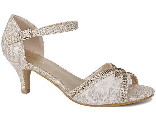 Maxmuxun Sandalia de Vestir Comodos Lace con Cerrada Tobillo Zapatos Mujer Dorado Talla 38