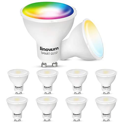 linovum Bombilla LED inteligente GU10, 10 unidades, compatible con Alexa Echo Google Home App controlable – RGB y tonos de blanco 2700 – 6500 K WiFi bombilla 5 W