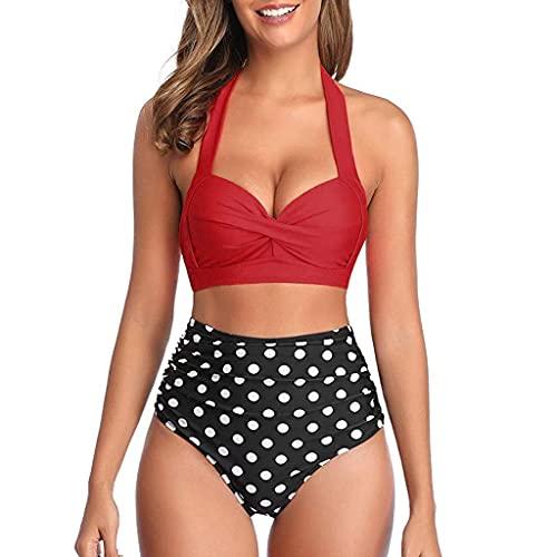 CheChury Bikinis Mujer Push Up 2021 Brasileños Estampado de Cocotero en Traje de Baño de Tubo - Brasileños Bañador Ropa de Dos Piezas Aundado Acolchado Ropa De Baño