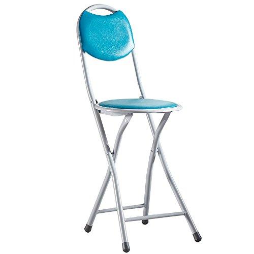 Chaise pliante simple/ménage chaise de salle à manger portable petit banc/dortoir chaise d'étudiant chaise pliante/tabouret / rouge/bleu / noir (Couleur : Bleu)