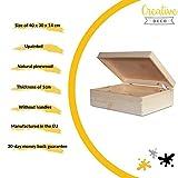 XL Große Holzkiste Kiste Spielzeugkiste Erinnerungsbox Aufbewahrungsbox Holzbox mit Deckel – 40 x 30 x 14 cm – Unlackiert Kasten – ohne Griffen – Ideal für Wertsachen, Spielzeuge und Werkzeuge - 2
