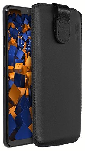 mumbi Echt Ledertasche kompatibel mit LG G7 ThinQ Hülle Leder Tasche Hülle Wallet, schwarz
