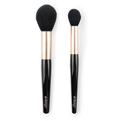 aDesign Lot de 2 pinceaux de maquillage professionnels – Highlight Power Duo