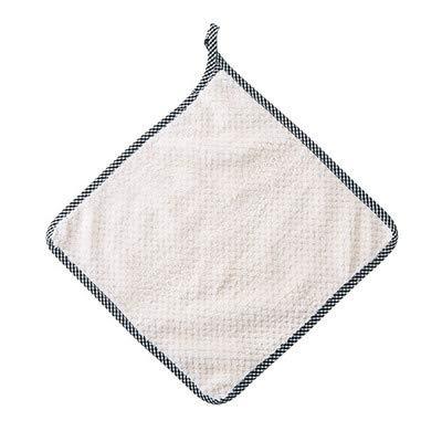 Ophangbare Koraal Fleece Hand Handdoeken, Huishoudelijke Katoen Keuken schuren Handdoeken, pluisvrij Absorbens Schotel Doek 27.5 * 25cm Beige