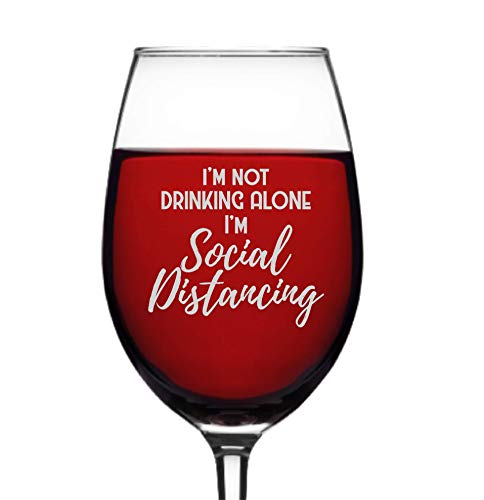 Social Distancing Wine Glass | Funny Quarantine Gift for Women | Wine Glasses (16 ounce Stemmed Wine Glass)