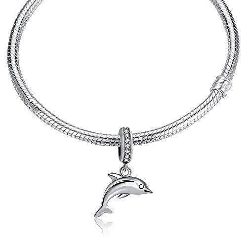 Charm Delfín de plata primera ley para la gama de pulseras tipo Pandora y Chamilia.