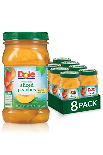 Dole Jarred Peaches Sliced Yellow Cling in 100% Fruit Juice, 23.5 Ounce Jar (Pack of 8)