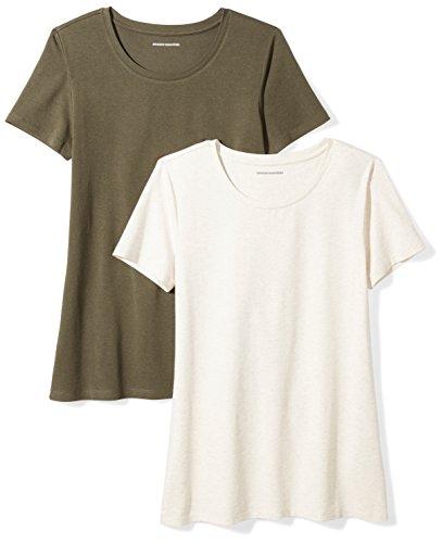 Amazon Essentials Women's 2-Pack Classic-Fit Short-Sleeve Crewneck T-Shirt, Olive/Oatmeal Heather, Medium