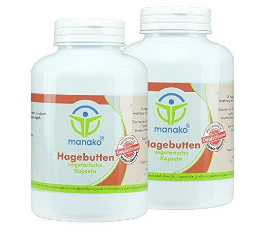 manako Hagebutten vegetarische Kapseln, 2 x 300 Stück a 500 mg, Dose a 180 g (2 x 300 Kapseln)