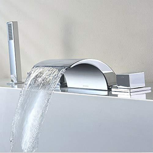Grifo de bañera con alcachofa de mano, grifo de cascada, grifo con ducha de latón para bañera