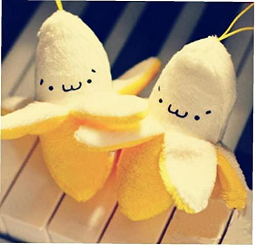 Onsinic Gancho 2pcs De Peluche Rellenos De Super Kid Plátano De 7 Cm De Kawaii Juguetes Mini Pendiente De La Llave De Juguete De Felpa