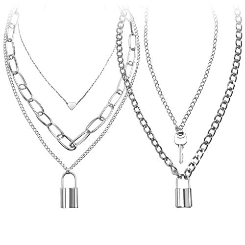 Lock Chain Necklace, Egirl Chains, Statement Lock Key Pendant Necklace Silver Set Eboy Long Multilayer Chains Punk Choker 2 Set(5 layer)