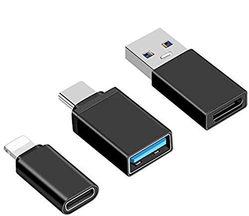 Juego de 5 adaptadores USB-C a USB 3.0, USB-C (macho) a USB A (hembra), Micro USB y USB 3.0 compatibles con función OTG (negro).
