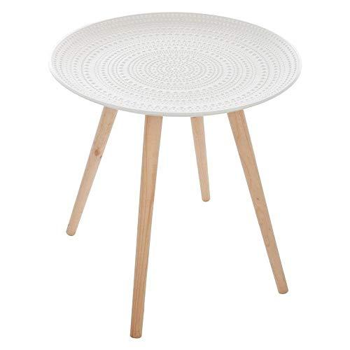 Atmosphera - Table basse tendance nomade et inspiration marocaine Coloris BLANC ET BOIS NATUREL
