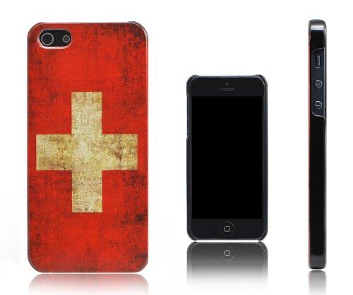 Xcessor dun en licht design vintage uitziende vlag Zwitserland beschermhoes voor iPhone SE/5/5S