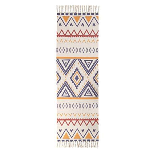 Alfombra EmyTock, alfombra de área de algodón vintage, tejido a mano, borlas de la impresión, alfombra de puerta blanca, para sala de estar, baño, dormitorio