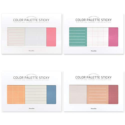 モノライク カラーパレットスティキ プラン Color palette Sticky Plan 300 B セット 4p - デザイン1個あたり50シート、粘着メモ