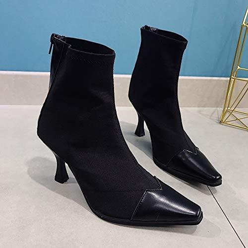 Shukun enkellaarsjes lente en herfst puntige laarzen sokken kat met hoge hak skinny laarzen Women'S laarzen