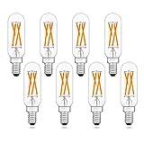 40-Watt Equivalent Rustic T8 Candelabra E12 LED Bulbs, Amber Warm 2200K, Dimmable (0 100%), AIELIT 4W Tubular LED Light Bulb for Bar Restaurant Farmhouse Industrial Kitchen Lighting, Clear, 8-Pack
