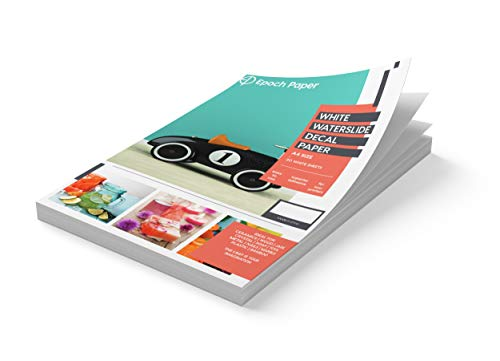 Epoch Paper - White Waterslide Decal Paper for LASER Printers - 20 Pages of Size A4 Premium Image...