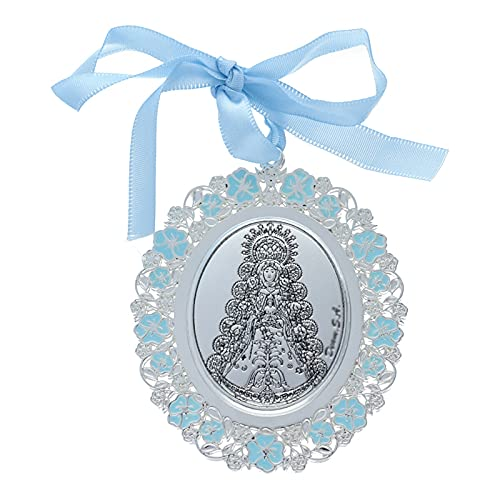 Medalla para Cuna/Carro Virgen del Rocío Esmalte Azul Plata Bilaminada