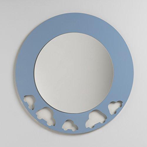 DECOHOGAR.SHOP Miroir Rond Mural pour Enfants - Grand Cars - 80 x 80 cm - Laquée Bleu Azur