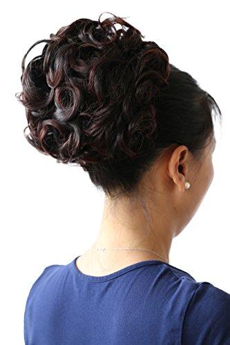 PRETTYSHOP Dutt Haarteil Zopf Haarknoten Hepburn-Dutt Haargummi Hochsteckfrisuren Gewellt Dunkelbraun Mix HK110