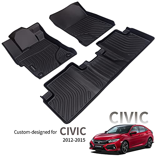 KELCSEECS Odorless Car Floor Mats for Honda Civic 2012 2013 2014 2015 Durable Easy to Clean Full Set Two Row…