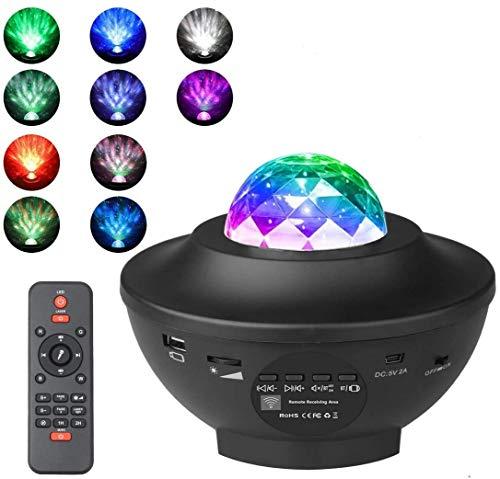Plasaig Delicacy LED-Sterne-Projektor, rotierende Wolke, Nachtlicht, Fernbedienung, Musik-Player mit Farbwechsel, mit Bluetooth und Timer