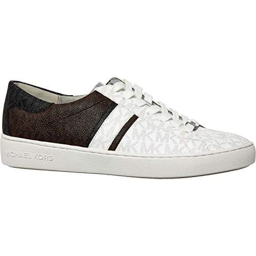 Michael Kors Keaton Stripe Mini MK Logo Sneakers, Weiß - White / Brown / Black - Größe: 40 EU
