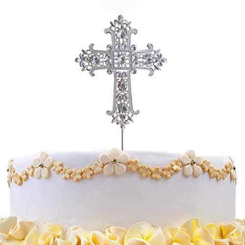 DreamsEden Birthday Cake Topper - Crystal Rhinestone Wedding Anniversary Party Favors Decorations (Cross Silver)