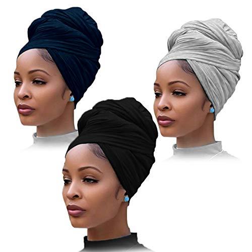 YMHPRIDE - Turbante de jersey elástico de 3 piezas para la cabeza, tejido para la cabeza, bufanda urbana para el cabello, color sólido, extralargo, ultra suave, transpirable, para la cabeza para mujer