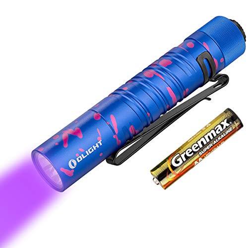 OLIGHT I5UV EOS Linternas Ultravioleta Pequeño pero Poderoso LED ultravioleta de 365 nm Linterna Portátil Luz Impermeable,con batería AA + estuche de batería Tidusky