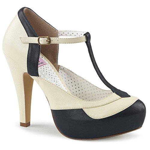 Pinup Couture Damen T-Riemchen Pumps Bettie-29 schwarz-Creme Gr. 39