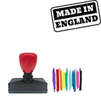 Made In England Rectangle Badge Style Pre-Inked Stamp, Yellow Ink Included