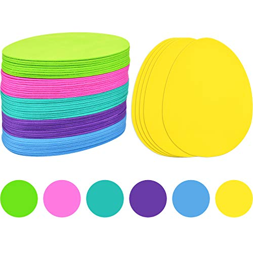 Blulu 60 Pieces Foam Easter Eggs DIY Egg Shaped Foam for Kids Handmade Crafts Party Supplies, 6 Colors