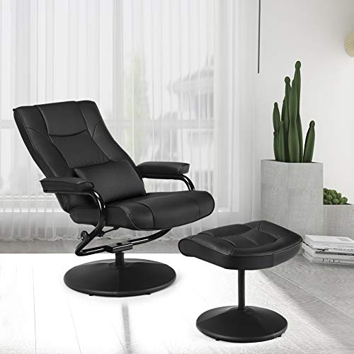 Swivel Recliner Chair, WaterJoy PU Leather Lounge Armchair Recliner, 360 Degree...