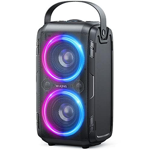 Cassa Bluetooth, W-KING 80W Bassi potenti, Enormi altoparlanti wireless portatili da 105dB con suono, Luci LED a colori misti, Batteria da 12000mAH, Bluetooth 5.0, Riproduzione USB, Forte per feste