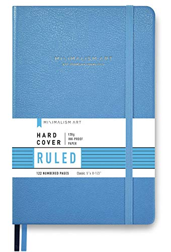 Minimalism Art, Premium Hard Cover Notebook Journal, Small Size, Classic 5 x 8.3, 122NumberedPages, GussetedPocket, Ribbon Bookmark, Extra Thick Ink-ProofPaper120gsm (Ruled, Blue)