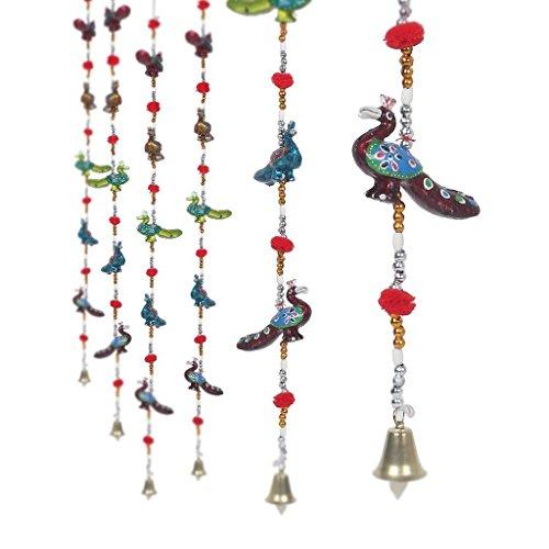 Craftvatika Paire de Rajasthan fabriqué à la main Paon de porte à suspendre décoratifs cordée associé avec perles et laiton Bell
