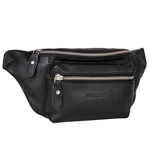 STILORD 'Portland' Gürteltasche Leder Vintage Bauchtasche Hüfttasche oder Brusttasche für Kamera Jogging Reise Festival Sport Echtleder, Farbe:schwarz