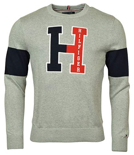 Tommy Hilfiger Men's Cotton Crewneck Logo Sweater, Gray, Medium