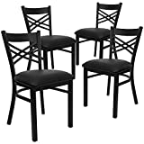 Flash Furniture 4 Pack HERCULES Series Black ''X'' Back Metal Restaurant Chair - Black Vinyl Seat