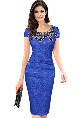 Babyonline® Damen Spitze Abendkleid Kurzarm Business Etuikleid Knielang Festliches Kleid Lace Partykleider